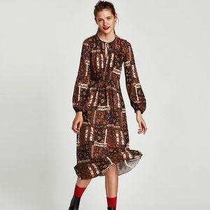 NEW Zara Patchwork Midi Dress